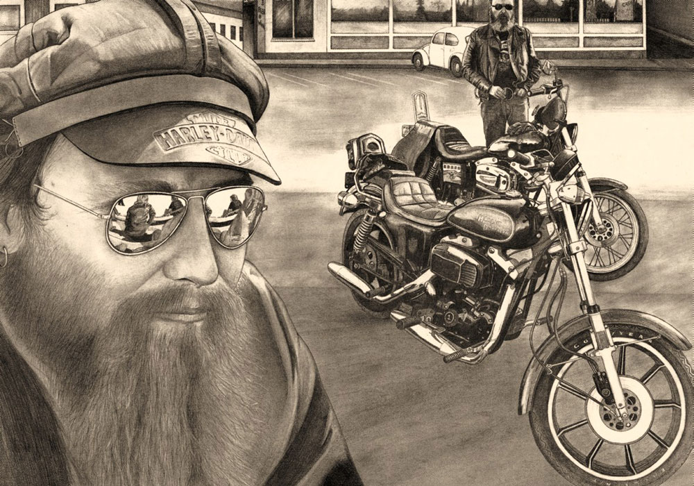 Sunglasses and Harleys (1983) -                Bleistift auf Papier, Pencil on Paper, 42 cm x 62 cm