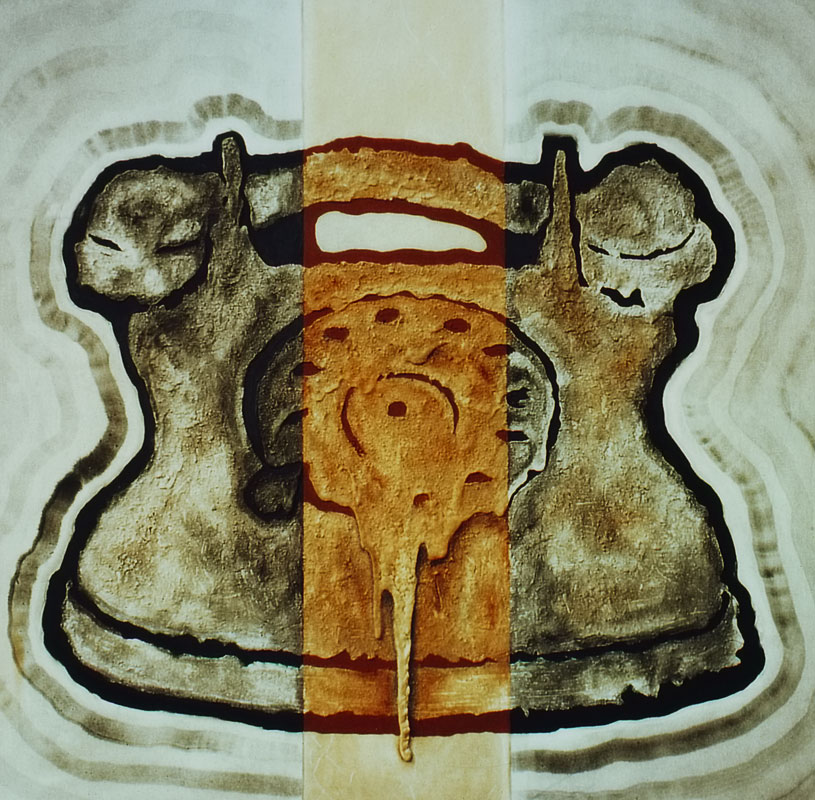 "Erdtelefon (1996) - Öl und ""Winsener Erde"" auf Leinwand, Oil and ""The Soil of Winsen"" on Canvas, 130 cm x 130 cm"