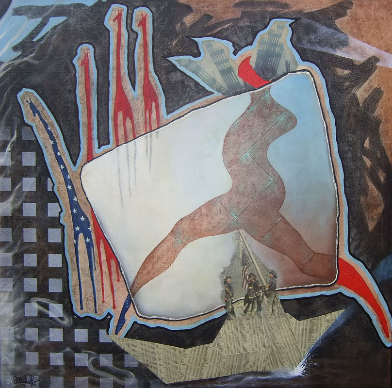 9-11 The Running Statue of Liberty (2001) - Öl und Collage auf Leinwand, Oil and Collage on Canvas, 100 cm x 100 cm