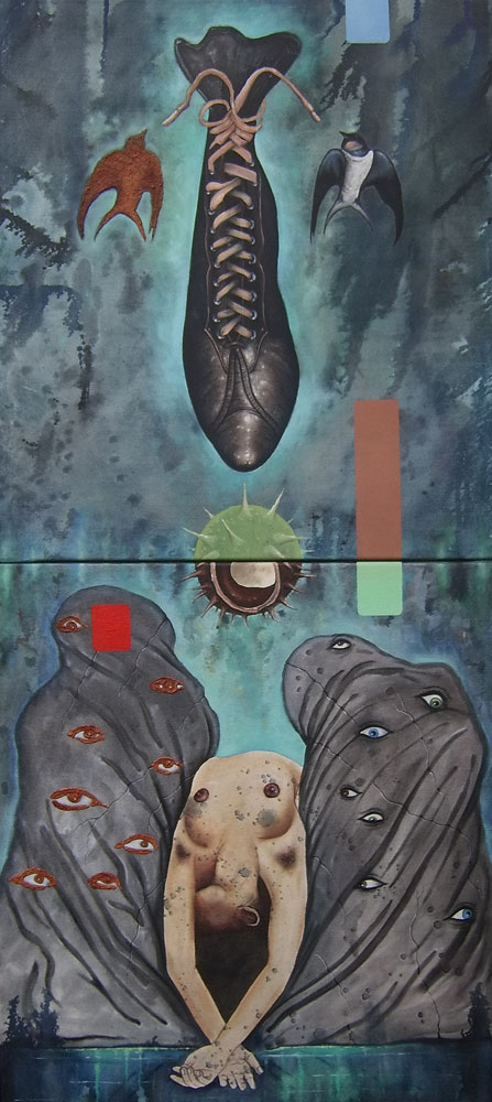 Balance (1995) - Mischtechnik auf Leinwand / 2-teilig, Mixed-Technic on Canvas, 70 cm x 160 cm