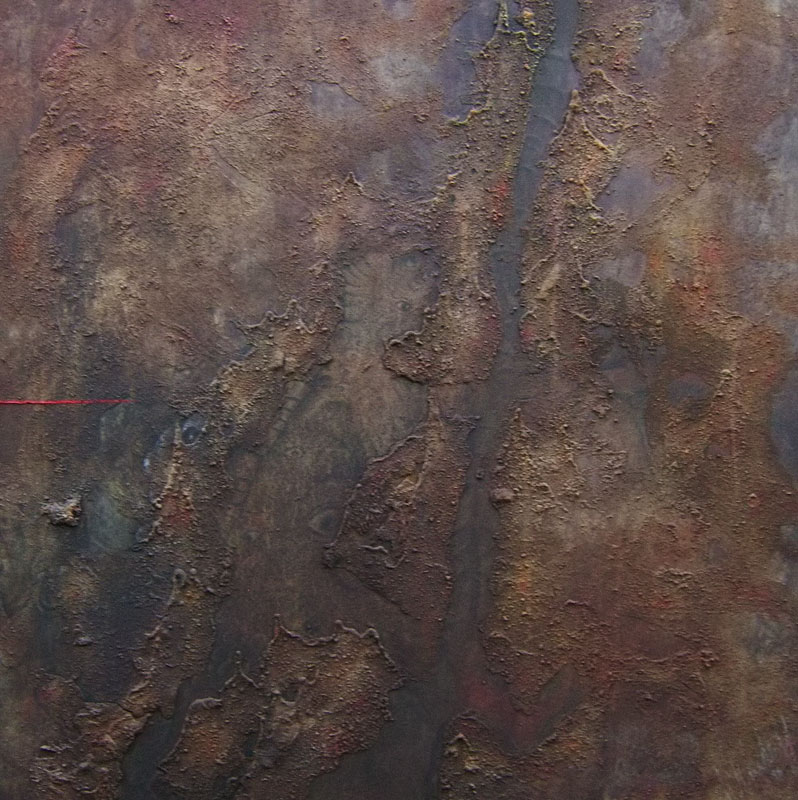 "The Red Line (1995) - Öl und ""Winsener Erde"" auf Leinwand, Oil and ""The Soil of Winsen"" on Canvas, 90 cm x 100 cm"