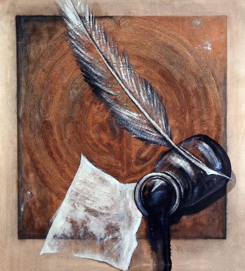 "Fragen & Antworten (2004) - Öl und ""Winsener Erde"" auf Leinwand, Oil and ""The Soil of Winsen"" on Canvas, 110 cm x 120 cm"