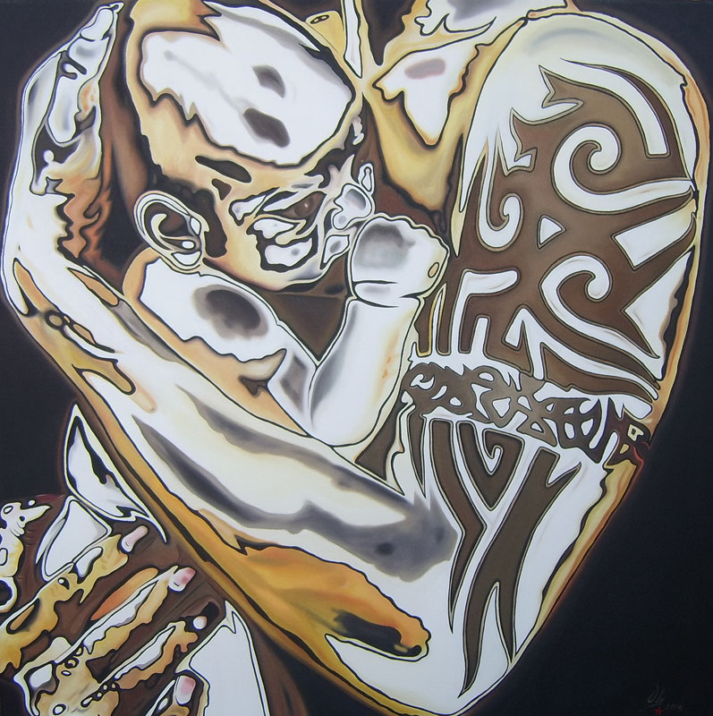 Tattooed Soul (2004) - Öl auf Leinwand, Oil on Canvas, 115 cm x 115 cm